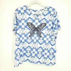Alfred Dunner Butterfly Embellished Top Blouse